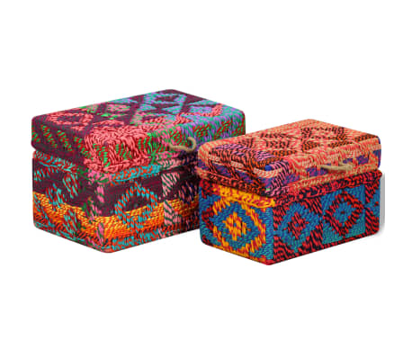 vidaXL Storage Boxes Set of 2 Chindi Fabric Multicolor[1/11]