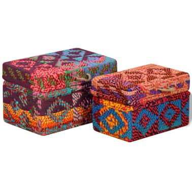 vidaXL Boîte de rangement 2 pcs Tissu Chindi Multicolore[1/11]