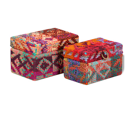 vidaXL Storage Boxes Set of 2 Chindi Fabric Multicolor[3/11]