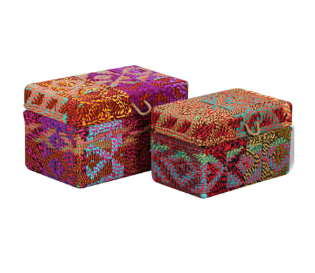 vidaXL Storage Boxes Set of 2 Chindi Fabric Multicolor[4/11]