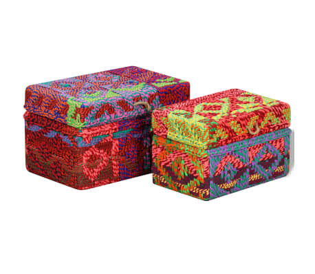 vidaXL Storage Boxes Set of 2 Chindi Fabric Multicolor[5/11]