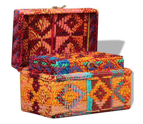 vidaXL Storage Boxes Set of 2 Chindi Fabric Multicolor[7/11]