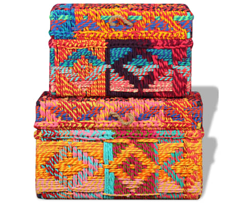 vidaXL Storage Boxes Set of 2 Chindi Fabric Multicolor[8/11]