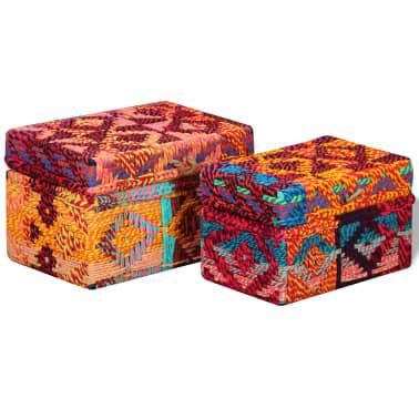 vidaXL Boîte de rangement 2 pcs Tissu Chindi Multicolore[2/11]