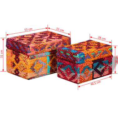 vidaXL Storage Boxes Set of 2 Chindi Fabric Multicolor[11/11]