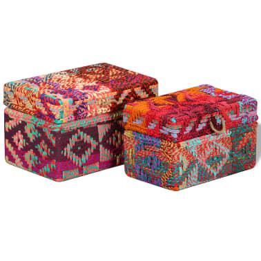 vidaXL Boîte de rangement 2 pcs Tissu Chindi Multicolore[3/11]