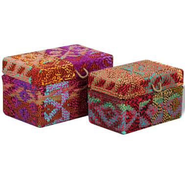 vidaXL Boîte de rangement 2 pcs Tissu Chindi Multicolore[4/11]