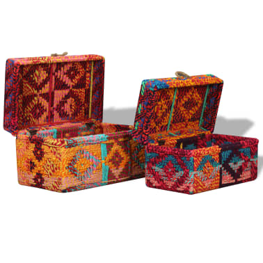 vidaXL Storage Boxes Set of 2 Chindi Fabric Multicolor[6/11]