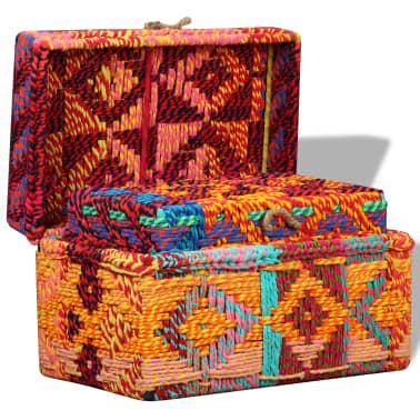 vidaXL Boîte de rangement 2 pcs Tissu Chindi Multicolore[7/11]