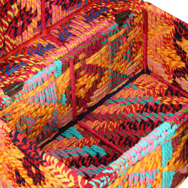 vidaXL Storage Boxes Set of 2 Chindi Fabric Multicolor[9/11]