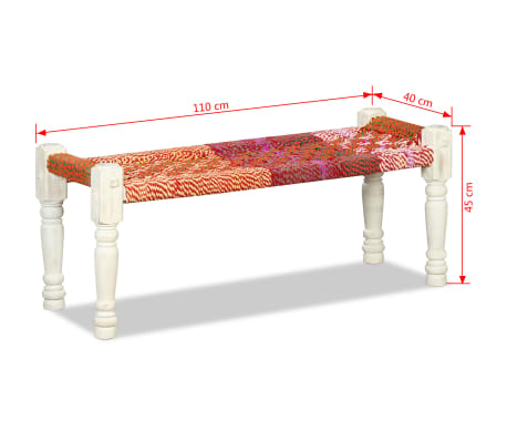 vidaXL Bench Solid Acacia Wood with Chindi Fabric Multicolor[10/10]