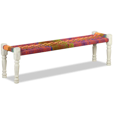 vidaXL Bench Solid Acacia Wood with Chindi Fabric Multicolor[1/10]