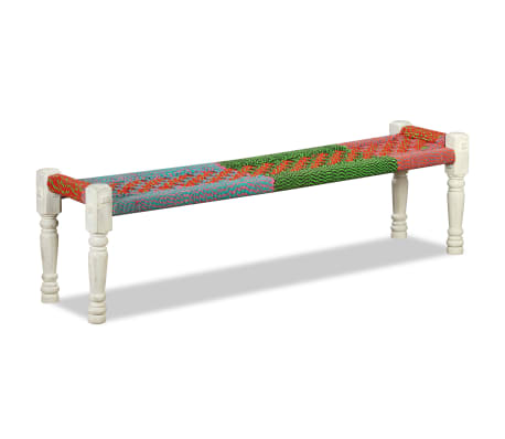 vidaXL Bench Solid Acacia Wood with Chindi Fabric Multicolor[4/10]