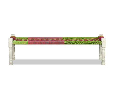 vidaXL Bench Solid Acacia Wood with Chindi Fabric Multicolor[6/10]