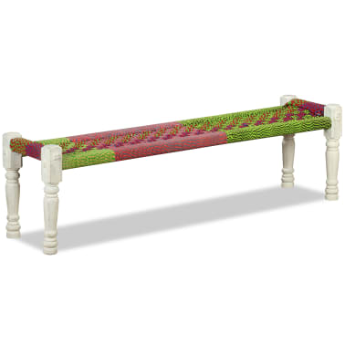 vidaXL Bench Solid Acacia Wood with Chindi Fabric Multicolor[2/10]
