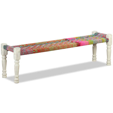 vidaXL Bench Solid Acacia Wood with Chindi Fabric Multicolor[5/10]