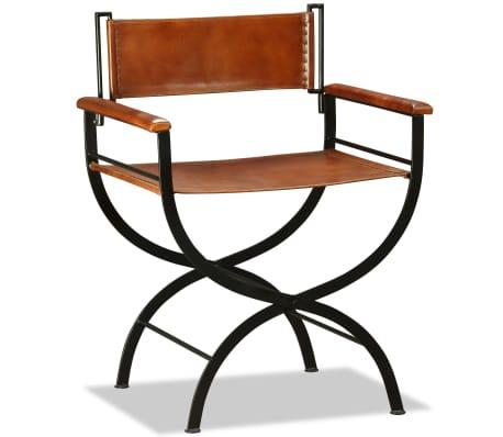 acheter vidaxl chaise pliante cuir v ritable 59 x 48 x 77 cm noir et marron pas cher. Black Bedroom Furniture Sets. Home Design Ideas
