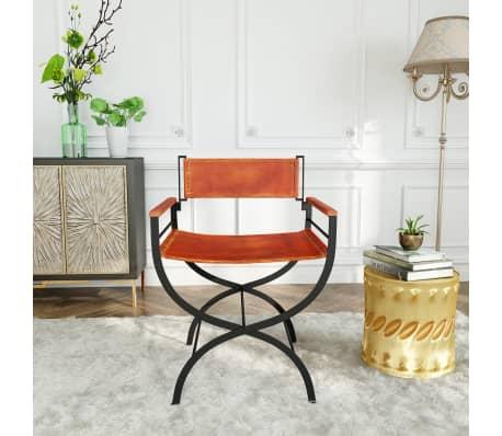 "vidaXL Folding Chair Genuine Leather 23.2""x18.9""x30.3""[13/13]"