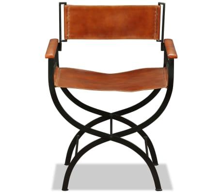 "vidaXL Folding Chair Genuine Leather 23.2""x18.9""x30.3""[6/13]"