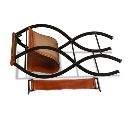 "vidaXL Folding Chair Genuine Leather 23.2""x18.9""x30.3""[8/13]"