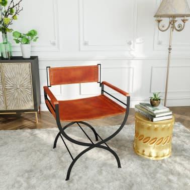 "vidaXL Folding Chair Genuine Leather 23.2""x18.9""x30.3""[12/13]"