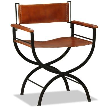 "vidaXL Folding Chair Genuine Leather 23.2""x18.9""x30.3""[5/13]"