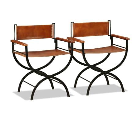 vidaXL Sammenleggbare stoler 2 stk ekte lær 59x48x77cm svart og brun[2/14]