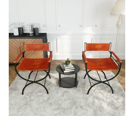 vidaXL Sammenleggbare stoler 2 stk ekte lær 59x48x77cm svart og brun[13/14]