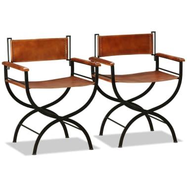 vidaXL Sammenleggbare stoler 2 stk ekte lær 59x48x77cm svart og brun[3/14]