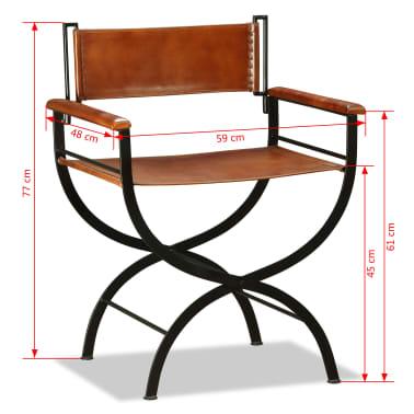 vidaXL Sammenleggbare stoler 2 stk ekte lær 59x48x77cm svart og brun[12/14]