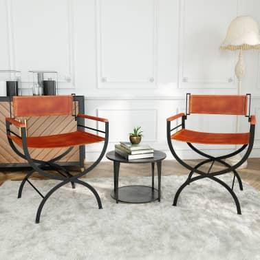 vidaXL Sammenleggbare stoler 2 stk ekte lær 59x48x77cm svart og brun[14/14]