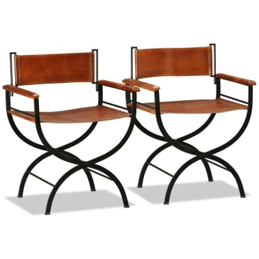 vidaXL Sammenleggbare stoler 2 stk ekte lær 59x48x77cm svart og brun[4/14]