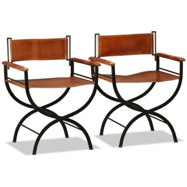 vidaXL Sammenleggbare stoler 2 stk ekte lær 59x48x77cm svart og brun[5/14]