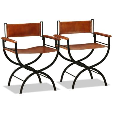 vidaXL Sammenleggbare stoler 2 stk ekte lær 59x48x77cm svart og brun[6/14]