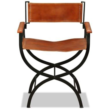 vidaXL Sammenleggbare stoler 2 stk ekte lær 59x48x77cm svart og brun[7/14]