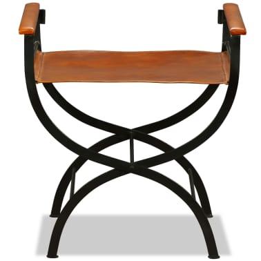 vidaXL Sammenleggbare stoler 2 stk ekte lær 59x48x77cm svart og brun[8/14]