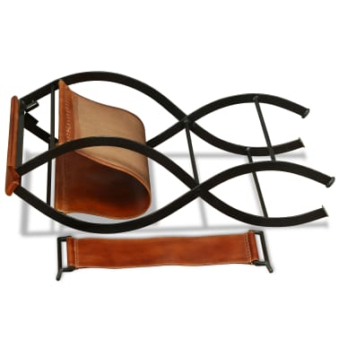 vidaXL Sammenleggbare stoler 2 stk ekte lær 59x48x77cm svart og brun[9/14]
