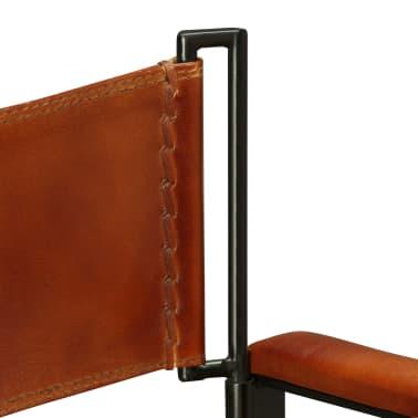 vidaXL Sammenleggbare stoler 2 stk ekte lær 59x48x77cm svart og brun[11/14]