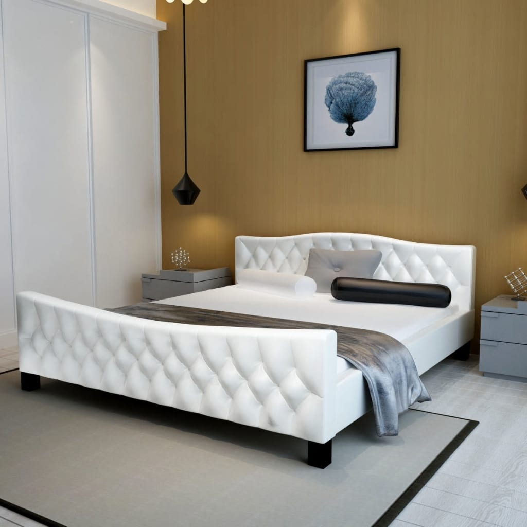 vidaXL Cadru de pat, alb, 140 x 200 cm, piele artificială poza vidaxl.ro