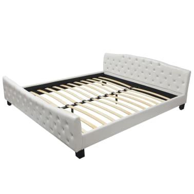 vidaXL Cadru de pat, alb, 180 x 200 cm, piele artificială[2/8]