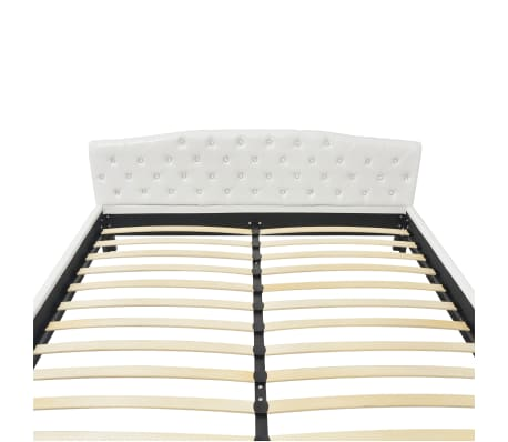 vidaXL Cadru de pat, alb, 180 x 200 cm, piele artificială[5/8]