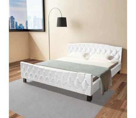 vidaXL Cadru de pat, alb, 180 x 200 cm, piele artificială[1/8]