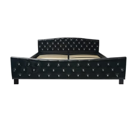 vidaXL Cadru de pat, negru, 180 x 200 cm, piele artificială[4/8]