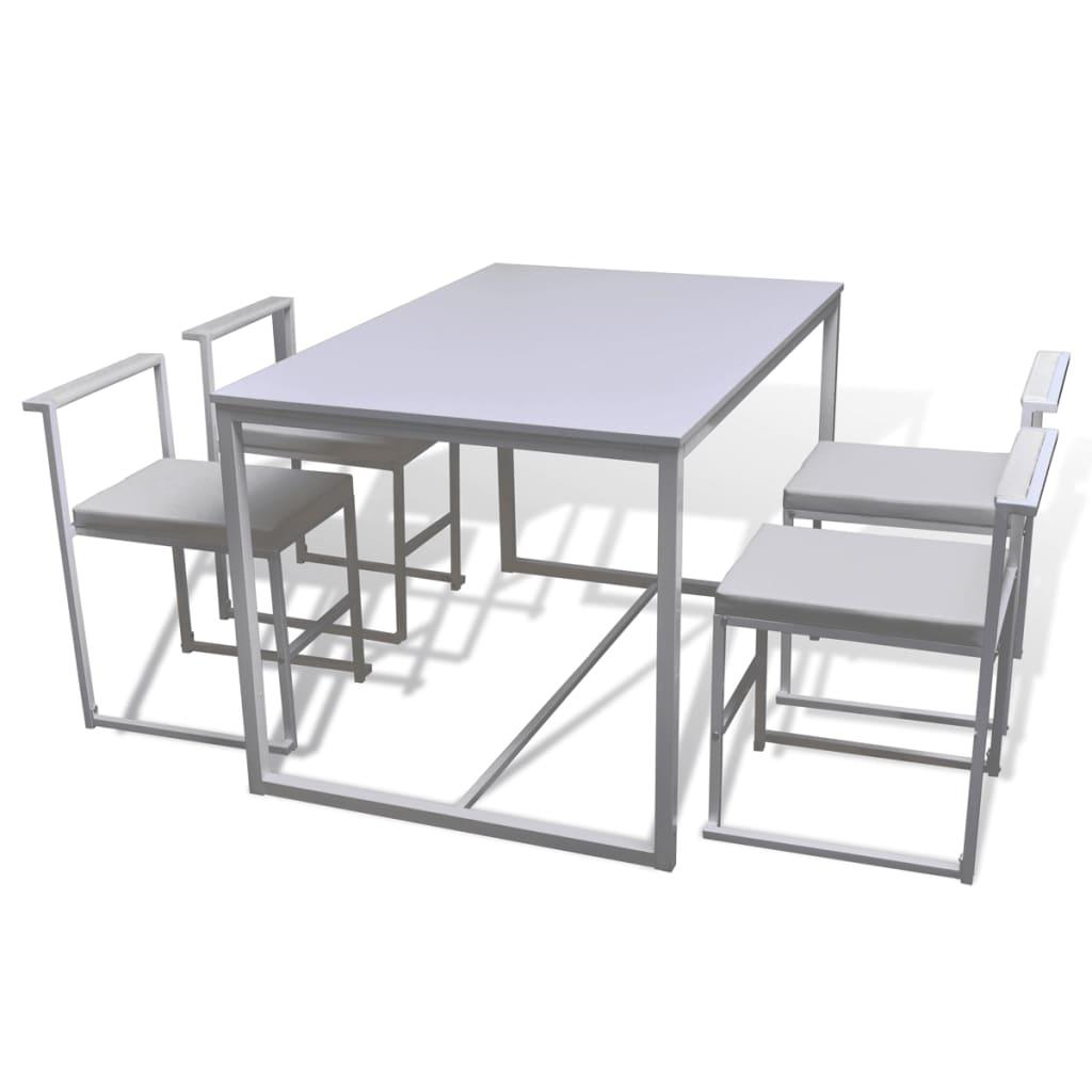 vidaXL Σετ Τραπεζαρίας με Καρέκλες Πέντε Τεμαχίων Λευκό