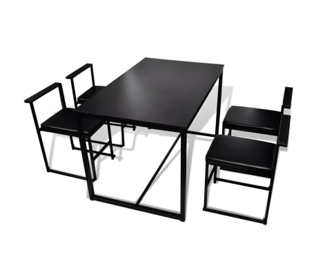 vidaXL 5 Piece Dining Table and Chair Set Black