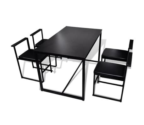 vidaXL Ensemble de table et de chaises de salle à manger 5 pièces Noir[2/6]