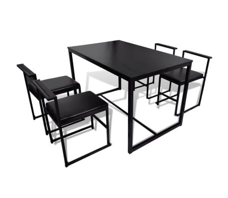 vidaXL Ensemble de table et de chaises de salle à manger 5 pièces Noir[4/6]