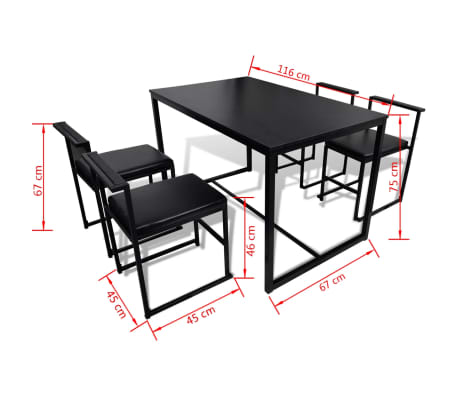 vidaXL Ensemble de table et de chaises de salle à manger 5 pièces Noir[6/6]