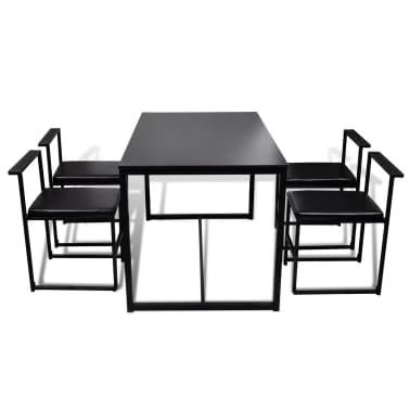 vidaXL Ensemble de table et de chaises de salle à manger 5 pièces Noir[3/6]