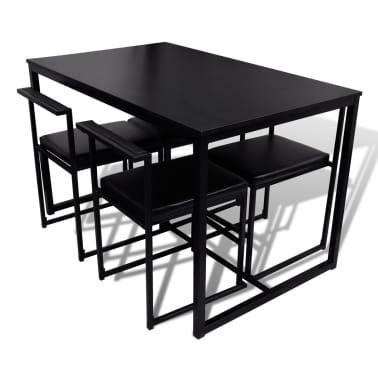 vidaXL Ensemble de table et de chaises de salle à manger 5 pièces Noir[5/6]